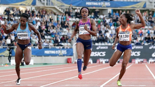 Elaine Thmpson 100m Paris DL
