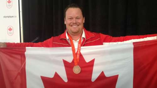 Dylan Armstrong Receives Bronze Medal from Beijing Olympics