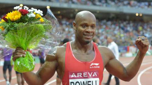 Powell after winning 100m (9.81SB) in Diamond League Paris